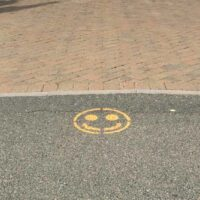 Crosswalk with social distancing marks